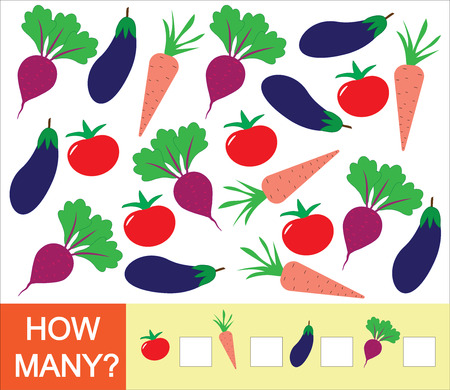 Learning numbers, mathematics, counting game for children. How many vegetables (tomato, beet, eggplant, carrot). Vector illustration.