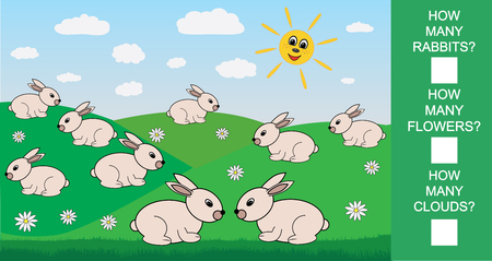 Educational mathematical game for children. Count how many rabbits flowers clouds. Vector illustration. Illustration