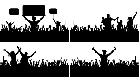 Set of huge crowd icons.