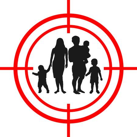 Family inside a target icon. Ilustração