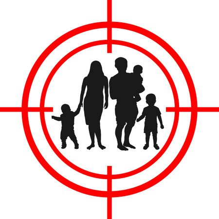 Family inside a target icon. Illustration