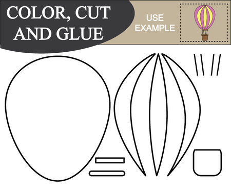 Color, cut and glue activity for kids. Vectores