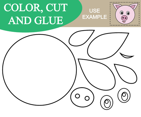 Paint, cut and paste the image of face of pig. Game for children.