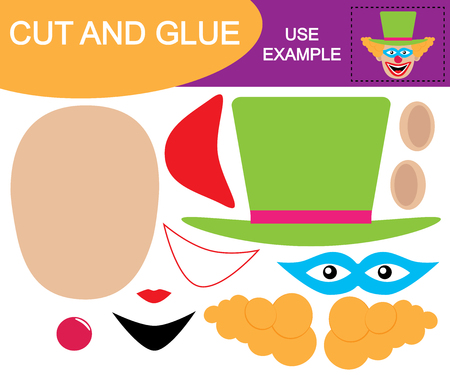 Create the Image of the head of clown using scissors and glue. Game for children.