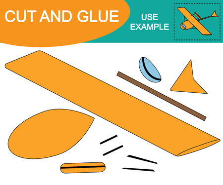 Image of hydroplane (air transport). Cut and glue (paste). Educational game for children
