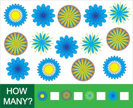 How many doodle flowers. Game for children. Vector illustration.