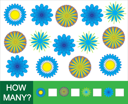 How many doodle flowers. Game for children. Vector illustration.