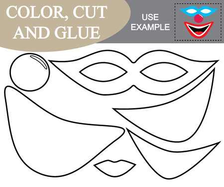 Color, cut and glue to create the image of mask of clown. Illustration