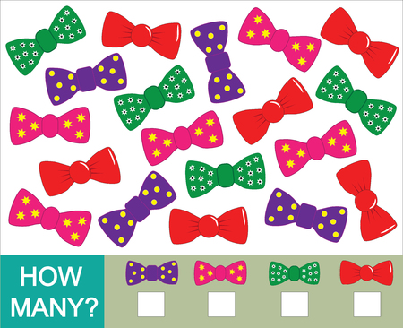 Count how many bow ties. Mathematical game for children vector illustration. Vettoriali