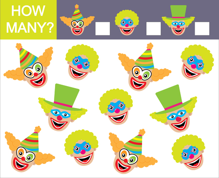 Learning numbers, mathematics and how many faces of clowns game for children.