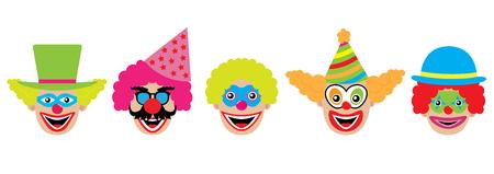 Clowns set, icons. Vector illustration.