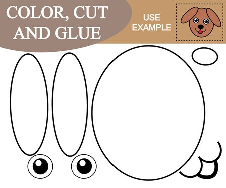 Color, cut, glue the image of face dog. Educational game for children.