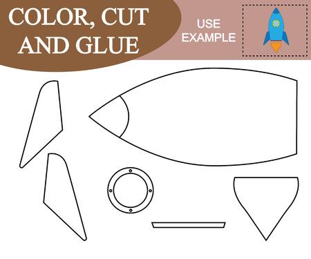 Colorear, cortar y pegar para crear la imagen del transporte aéreo de cohetes espaciales. Juego putrefacción de los niños.
