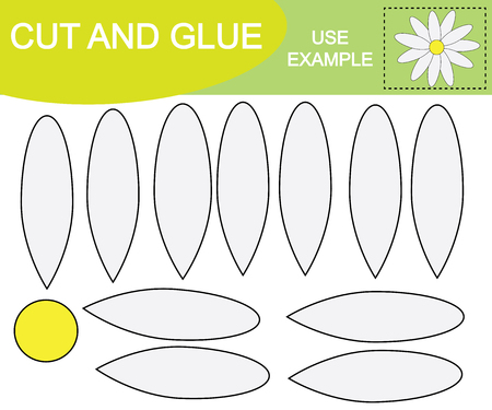 Create the image of flower chamomile. Cut and glue. Game for children.