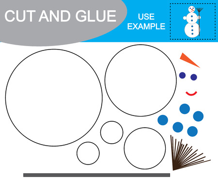 Image of snowman. Cut and glue. Educational game for children. Illustration