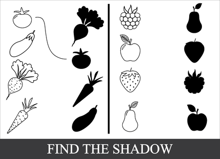 Paint vegetables, berries and fruits and find the correct shadow. Game for children. Illustration
