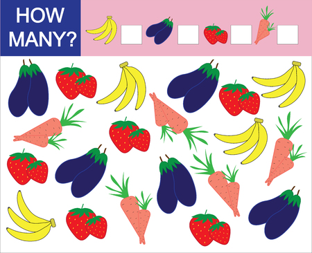 Counting game for preschool children. How many fruits, berries and vegetables. Learning numbers, mathematics. Illustration