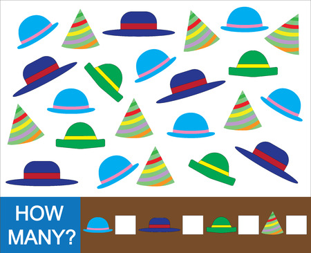 Educational mathematical game for children. Count how many hat. Vector illustration. Illustration