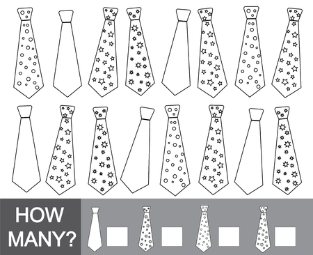How many ties. Color ties. Educational game for children. Learning numbers, mathematics. Illustration