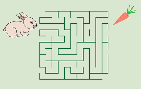 Maze game for children. Help the rabbit to get the carrot.