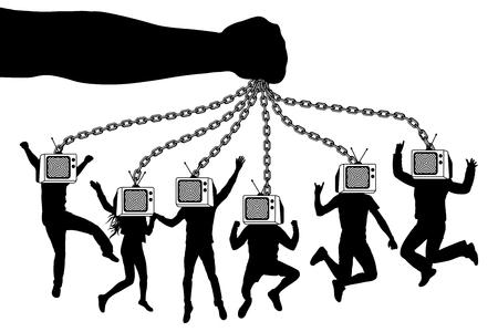 Homem de TV. A mão segura uma multidão de zumbis de pessoas com televisão. O manipulador de marionetes mantém os fantoches em correntes. Ilustración de vector