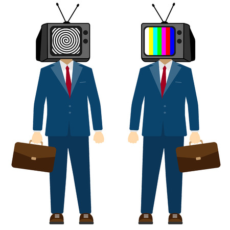 TV on head man. Television propaganda, fake news. Businessman character, vector.