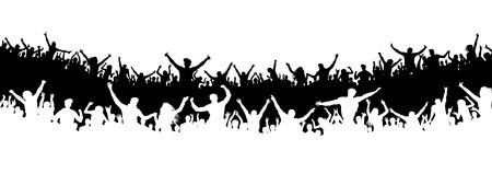 Multidão de pessoas no estádio. Multidão de fãs de esportes. Silhueta vector. Banner, cartaz