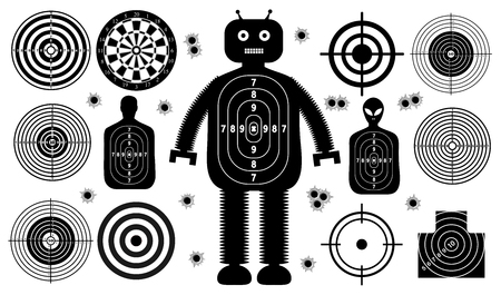 Set of targets shoot gun aim people man isolated. Sport Practice Training. Sight, bullet holes. Targets for shooting. Darts board, archery. vector illustration. Vettoriali