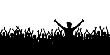 Cheerful crowd cheering. Hands up. Applause people. Silhouette vector