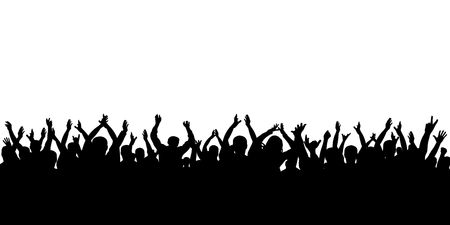 Crowd cheering silhouette Illustration