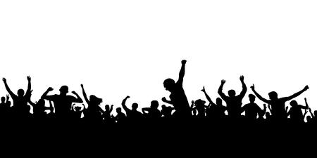 Levante os fãs. Multidão de silhueta de pessoas. Banner de esportes
