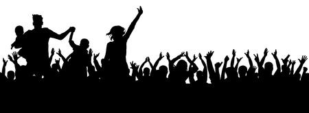 Vetor de multidão de festa, silhueta alegre, saúde de torcida Foto de archivo - 94843004
