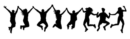People holding hands in a jump silhouette