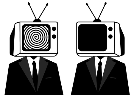 People instead of head TV, silhouette. Man zombie, mass media.