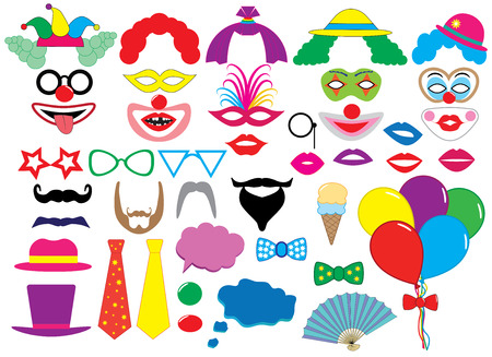 Photo booth props. Clowns. Holiday set. Vector Illustration