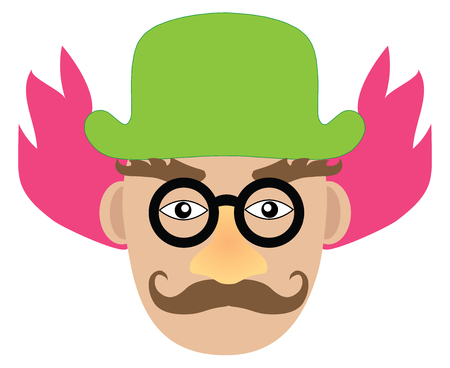 boring clown with pink hair and green hat. Vector