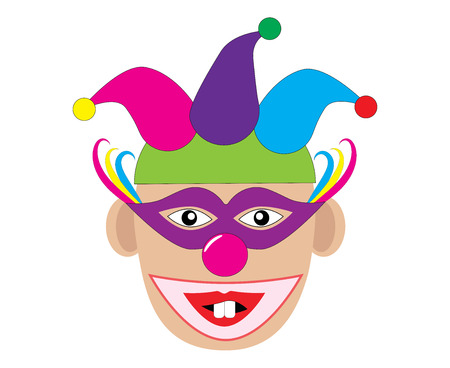 Funny clown with two teeth vector illustration. Illustration