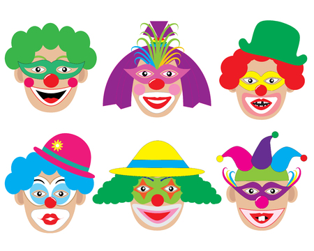 Set of face of clowns, icons. Vector illustration. Illustration