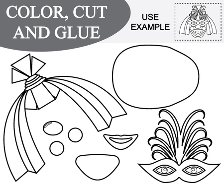 Color, cut and glue the image of female face of clown. Game for children.