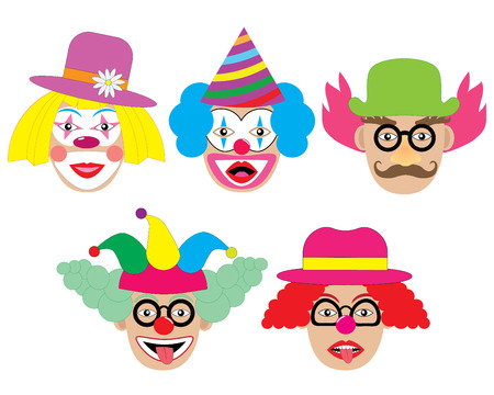 Clowns set, icons. Vector illustration.