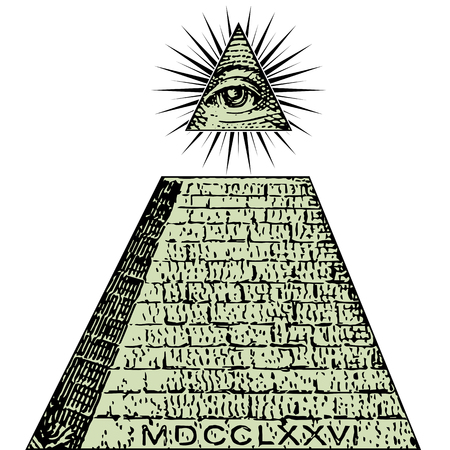 Neue Weltordnung. Ein Dollar, Pyramide. Illuminati-Symbole rechnen, das Freimaurerzeichen und sehen alle Augenvektor