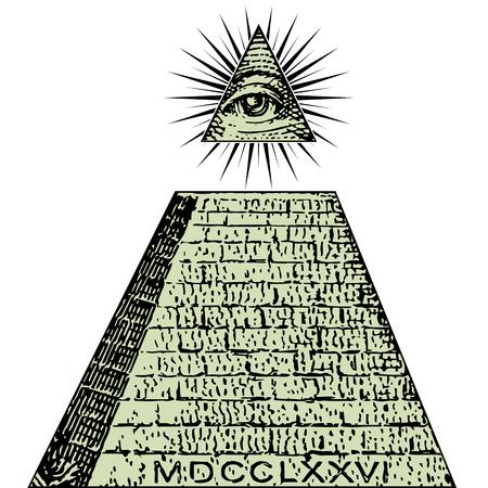 Nuevo orden mundial. Un dólar, pirámide. Proyecto de ley de símbolos Illuminati, signo masónico, vector de ojo que todo lo ve