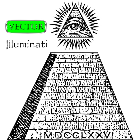 One dollar, pyramid. New world order. Illuminati symbols bill, masonic sign, all seeing eye vector Illustration