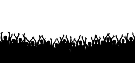 Vettore di sagoma folla applausi. La gente applaude. Allegro festa di battimani. Isolato su sfondo bianco