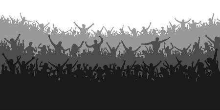 Aplausos aficionados al deporte. Animando multitud concierto de personas, fiesta. Vector de silueta de fondo aislado. Banner, póster