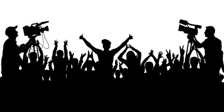 Applause sports fans. Cheering crowd people concert, party. Isolated background silhouette vector