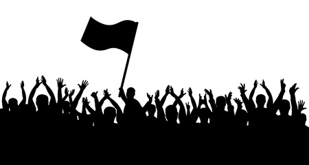 Crowd of people silhouette. Sports fans. People cheerful. Man with flag Illustration