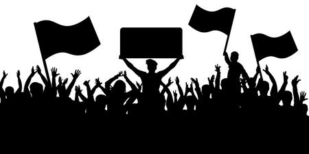 Menigte van mensen met vlaggen silhouet achtergrond. Sportfans.