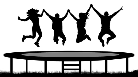 Jumping people on a trampoline silhouette, jump cheerful friends. Иллюстрация