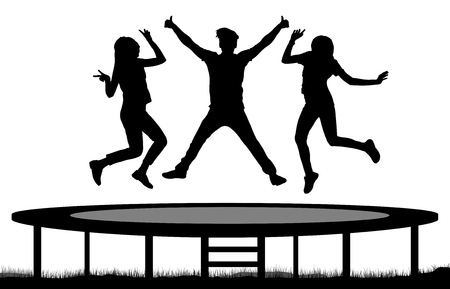 Jumping people on a trampoline silhouette, jump friends. 向量圖像